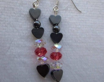 Hematite heart earrings with Swarovski elements crystals on sterling silver hooks
