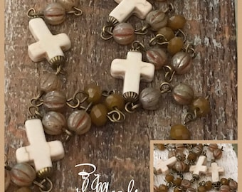 Boho rustic USA Handcrafted beaded linked chain bone howlite crosses crystals European glass Antique brass plated