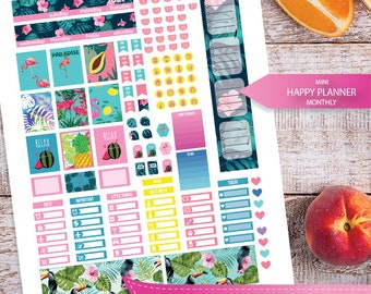 July Planner Stickers Printable,July monthly Mini Happy planner,Mini Monthly Kit, Printable Sampler,Instant download, Cut files, Summer time