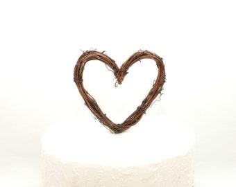 Heart Wedding Cake Topper - Rustic Grapevine