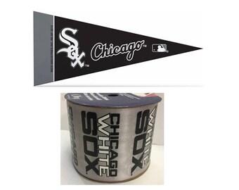 "2.5"" MLB Chicago White Sox Ribbon, 9 feet & Mini Pennant, Licensed MLB Offray Ribbon"