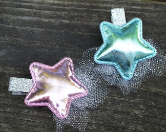 Pink and Blue Metallic shiny Star Hair Clip - decorated with silver sparkle mesh