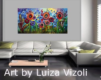 "Art 72"" Painting Abstract Original Fantasy Huge Acrylic Landscape Poppy Flowers SUMMER RAIN"