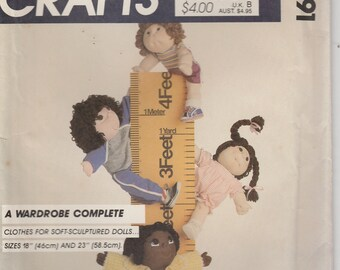 "Doll Clothes Pattern 18"" and 23"" Soft Sculptured Doll Wardrobe  uncut  McCalls 9091"