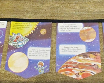 Space Planets Birthday Bunting - Outer Astronauts Party Banner Supplies - Mars Earth Venus Jupiter Saturn - Science Boys Girls Unisex