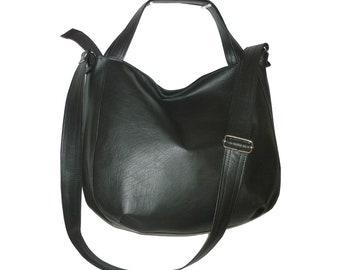 black hobo bag, black crossbody bag, black leather bag, black vegan bag, black vegan crossbody bag, black faux leather bag, crossbody purse