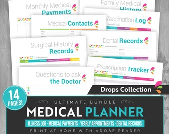 Medical Planner - Instant Download! - 13 pages in PDF format ready to print at home! - Health Planner