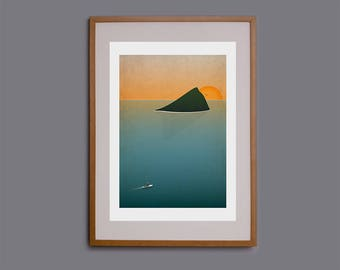Wembury, Devon, SUP, Stand up paddle, wall art, SUP print, SUP poster, Mewstone, surf illustration, Cornwall, giclee, beach, ocean
