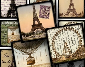 Vintage French Ephemera Digital Collage Sheet 1.5 Inch Squares Instant Printable Shabby Chic Paris France Balloons Eiffel Tower piddix 638