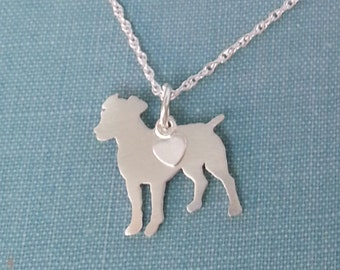 Jack Russell Terrier Necklace, Sterling Silver Personalize Pendant, Breed Silhouette Charm Rescue Shelter, Mothers Day Gift