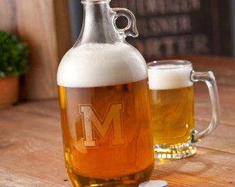Personalized Craft Beer Growler - Monogrammed Beer Growler Growlers - Groomsmen Gifts - Home Bar Growler - GC1093