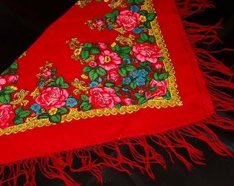 Red floral scarf vintage shawl fringed shawl vintage wool shawl red accessory shawl with tassels boho red scarf womens shawls bohemian shawl