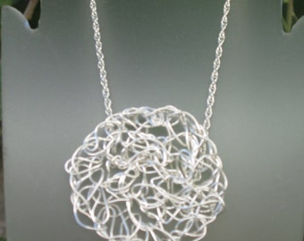 Fine Silver Crocheted Necklace