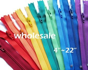 "100 YKK Zippers - 4"" - 22"" / Wholesale YKK Nylon Zippers - 4 to 22 Inch"