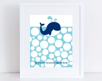 "blue whale themed baby shower guest book - 10x8"" print - signature, nautical, sea, beach nursery art, animal, kids birthday, 1st, bubbles"