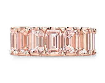 MORGAN 5.40 Ct. Emerald Cut Morganite Wedding Band or Anniversary Ring on 14K Rose & White Gold Half Eternity Style