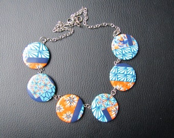 Necklace polymer clay round beads.