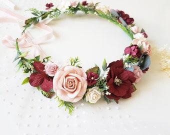 Blush pink Burgundy flower crown Dusty rose Blush Burgundy Floral accessories  Bridal headpiece Blush wedding crown Burgundy bridal crown