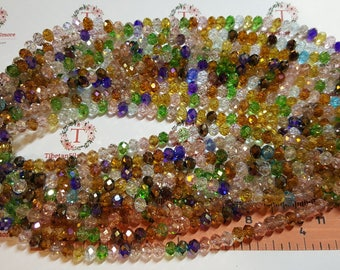 1 strand of 6x4mm Faceted Rondelle Earthy shade Multicolor AB finish Chinese Crystal