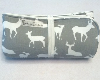 Travel Changing Pad, Changing Mat, Waterproof, Wipeable, Deer, Gray, White
