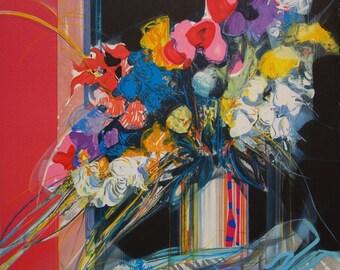 Jean-Baptiste VALADIE: Bouquet - original lithograph