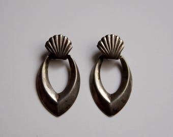 Antique Finish Sterling Silver Shell Dangle Earrings