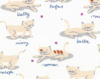 """Remnant 16"""" x 20"""" Hello Petal cats on white low volume cotton print by Aneela Hoey for Moda 18563 11"""
