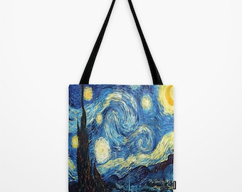 Starry night bag Van Gogh tote bag Impressionism bag Printed bag Gift for art history lover Gift for Van Gogh lover Gift for her Nerd bag