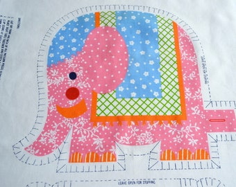 Vintage Sew and Stuff Pillow Doll Fabric - Elephant Train
