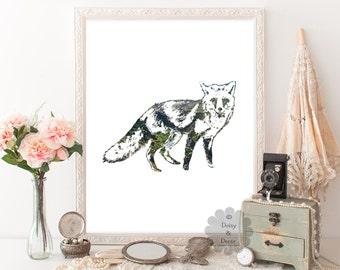 Fox - animal print, nursery decor, modern print, modern art, home wall art, home decor, nursery print, fox art, teen room decor, wall art