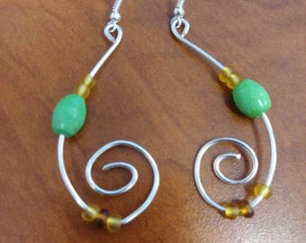Silver Swirl Dangles with Bead Accent, Fun Earrings, Earrings for Spring, Gift