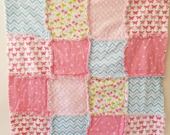 Pink Baby Quilt Rag Blanket with Butterflies and Birds