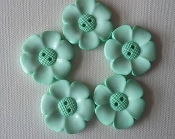 SALE Lot of 5 Flower Buttons - 40mm-  Mint WAS 5.00 NOW 4.00