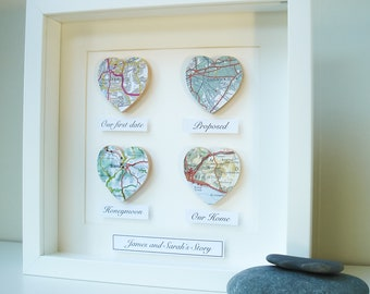 Personalised Map Hearts Story, Unique Wedding Gift, Met Married Live, Paper Anniversary, First Anniversary, Map Wall Art, Engagement gift