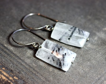 Tourmalinated Quartz Earrings Black and White Earrings Gemstone Sterling Silver Rustic Jewelry