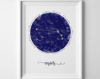 Aries constellation, astrology, star sign, star constellations, printable wall art, astrology art, printable artwork, constellation wall art