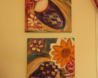 Colorful abstract diptych