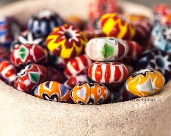 5 Assorted Multicoloured Indian Chevron Glass Beads (SB291)