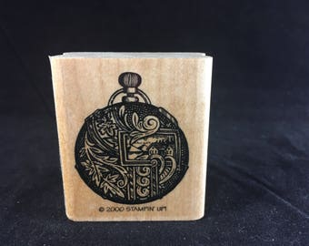 Ornate Pocket Watch Rubber Stamp - Used -