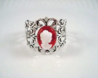Cameo Ring Adjustable Vintage Inspired Silver Filigree Ring