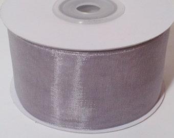 Sheer Organza Ribbon - Silver - 25 Yards