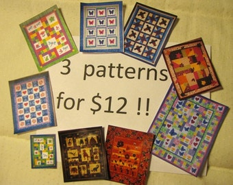 QUILT Pattern SALE - Buy any 3 Quilt Patterns for only 12 dollars