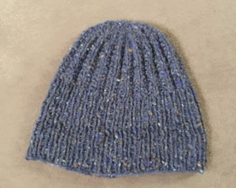 tweedee triote handmade blue grey wool hat / tweed hat, hand knitted, blue grey