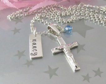 Sterling Silver Crucifix & Hand Stamped Name Bar First Communion Necklace. Personalized Confirmation Jewelry. Birthstone Swarovski Crystal.