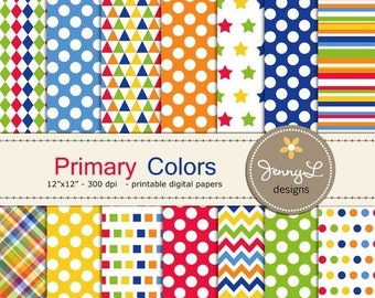 50% OFF Primary Colors Digital Papers for Digital Scrapbooking, Invitations, etc. red, yellow, green blue