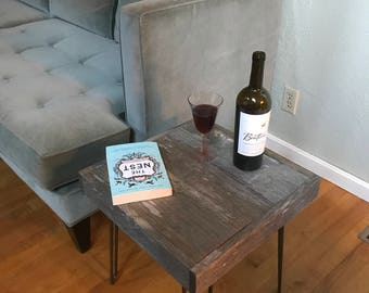 True Barnwood End Table - Rustic, reclaimed, upcycled, shabby chic, hairpin legs