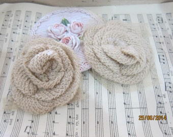 2pcs-Brown rolled flowers/NF14-Cotton Flower head piece