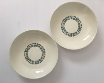 Canonsburg Temporama Coupe Soup Bowl 8 Inch MCM Blue White Mid Century Atomic Design 1961