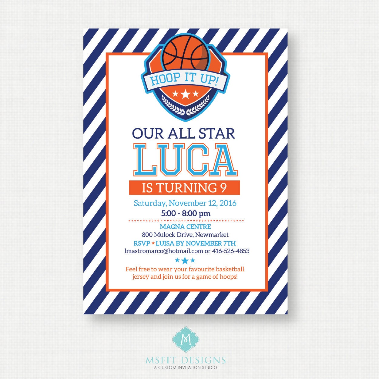 Printable Birthday Invitation- Basketball Birthday Invitation ...