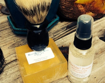 For Men Shaving Gift Set. Kelly's Whisker Wash. Aftershave. Shaving Brush. Shaving Soap. Rustic. Fathers Day Gift